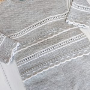 Grey and White Knitted Set