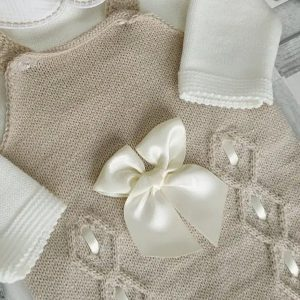 Beige Knitted Dungarees Set