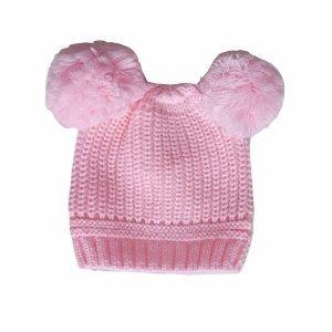 Pink Double Pom Pom Hat 12-24M
