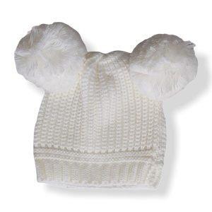 Cream Double Pom Pom Hat 12-24M