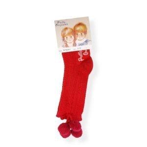 Pretty Originals Red Pom Pom Socks