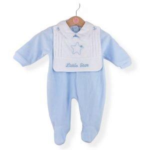 Blue Little Star Velour Babygrow