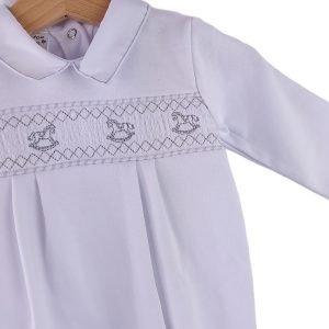 Unisex White Cotton Babygrow