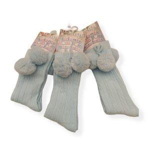 Blue Pom Pom Socks