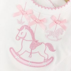 New Pink Rocking Horse Bib