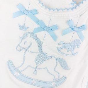 Blue Rocking Horse Bib
