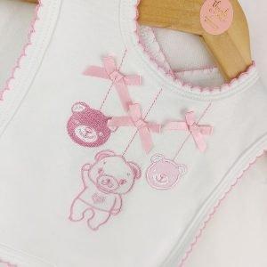 Pink Teddy Bear Bibs