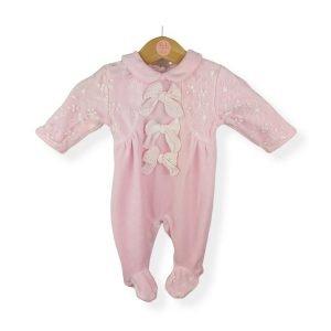 Pink Velour Bow Babygrow