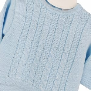 Blue Cable Knitted Set