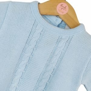 Blue Cable Knit Babygrow