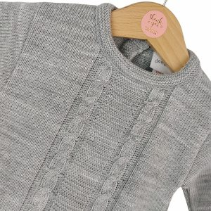 Grey Cable Knit Babygrow