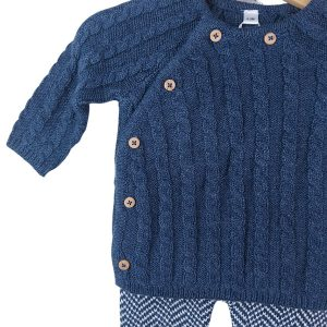 Navy Blue Cable Knit Set