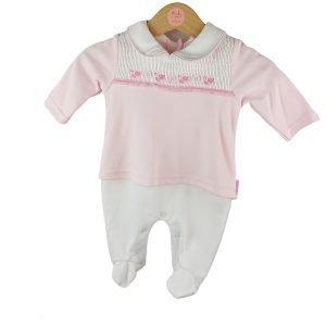 New Pink and White Babygrow
