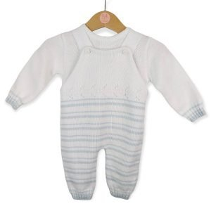 White Knitted Dungaree Set